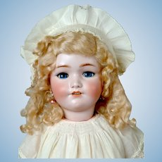 "25"" Simon & Halbig 1349 ""Jutta"" Antique Bisque Doll in Lovely Antique Off-White  Dress"