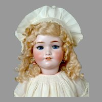 "25"" Lovely Simon & Halbig 1348 ""JUTTA"" Antique doll in Lovely Antique Off-White Dress"