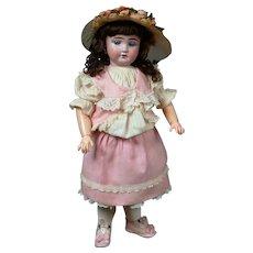 "18"" Fleischmann French Antique Doll with Hypnotic Blue Paperweight Eyes & Wonderful Factory Dress"