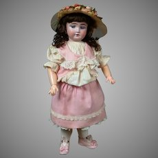 "18"" Fleischmann French Antique Doll with Hypnotic Blue Paperweight Eyes & Wonderful Factory Dress"