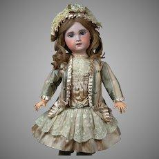 "Charming 24"" Bebe Jumeau 1907 Size 9 Bebe with Original Paperweight Eyes & Human Hair Wig"