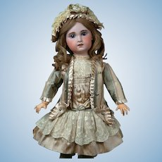 "Charming 24"" Bebe Jumeau 1907 Size 9 Bebe with Original Paperweight Eyes & Human Hair Wig"