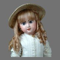 "Huge & Chunky 31"" Closed Mouth Jumeau in Antique White Cotton Dress w/Copious White Soutache Trim"