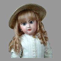 "Huge & Chunky 31"" Closed Mouth Jumeau in Antique White Cotton Dress w/Copious White Soutache Trim"