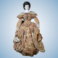 "*Absolutely Stunning* 27"" Antique China Lady (circa 1825) in GORGEOUS Extravagant Velvet Dress"