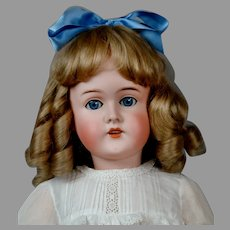 """Sweet 29"""" Queen Louise Antique Doll c1900 in Crispy Whites"""