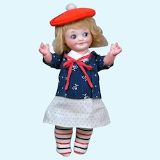 """8.5"""" Armand Marseille 323 Googly Bisque Character in Adorable Antique Costume"""