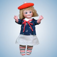 "8.5"" Armand Marseille 323 Googly Bisque Character in Adorable Antique Costume"