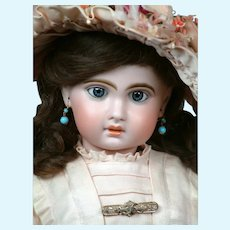 "Charming 23"" Bebe Jumeau 1907 Size 10 Bebe with Jumeau Factory Dress & Wig"