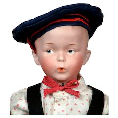 """Darling 16.5"""" Gebruder Heubach """"The Whistler"""" Character Boy in All-American Costume"""