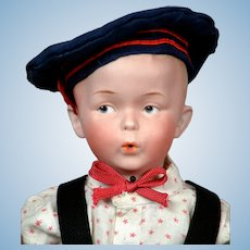 "Darling 16.5"" Gebruder Heubach ""The Whistler"" Character Boy in All-American Costume"