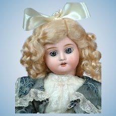 """14"""" Fleischmann French Antique Doll with Hypnotic Blue Paperweight Eyes & Steel Blue Silk Dress"""