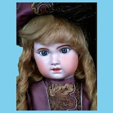 "Chunky 30"" Bebe Jumeau 1907 Size 14 Bebe with Original Paperweight Eyes & Original Human Hair Wig"