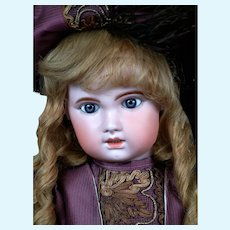 "Chunky 30"" Bebe Jumeau 1907 Size 14 Bebe with Original Paperweight Eyes & Original Human Hair Wig"