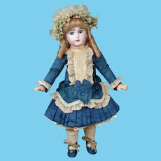 """French 20.5"""" Bebe Jumeau 8 with Blue Paperweight & Lovely Silk Frock circa 1895!"""