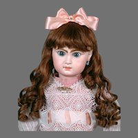 "Huge & Chunky 31"" Closed Mouth Jumeau in Antique Lace Dress & Fabulous Wig"