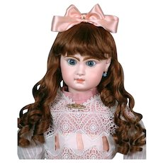 """Huge & Chunky 31"""" Closed Mouth Jumeau in Antique Lace Dress & Fabulous Wig"""