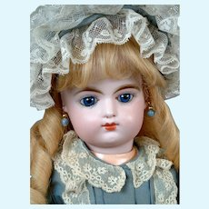"17"" Eden Bebe Antique French Doll with Closed mouth and Silk Couture Frock"