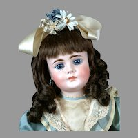 "Rare 24"" Closed-Mouth Bahr & Proschild 224 Antique doll with Blue Paperweight Eyes"