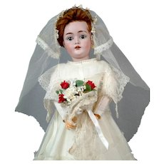 """*Here Comes The Bride* 18"""" Kestner 162 on Original Lady Body in Gorgeous Bridal Costume"""