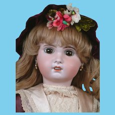 """Charming 24"""" SFBJ Jumeau With Big Brown Paperweight Eyes,  Stunning Silk Costume ~ WOW!"""