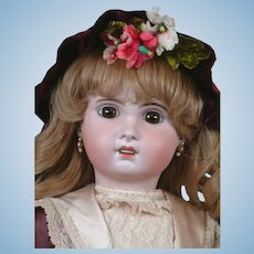 "Charming 24"" SFBJ Jumeau With Big Brown Paperweight Eyes,  Stunning Silk Costume ~ WOW!"