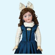 "32"" Simon & Halbig 1249 SANTA Antique Doll in Blue Pinafore--So Beautiful!"