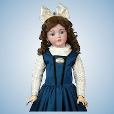 "32"" Simon & Halbig 1249 SANTA Antique Doll in Blue Pinafore--So Beautiful!"