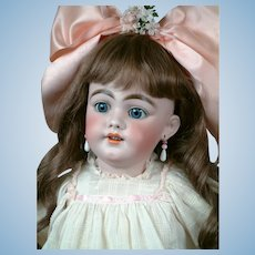 "28"" The Most Beautiful SIMON & HALBIG 1009 Early Bisque Head Child Doll in Antique Dress circa 1900"