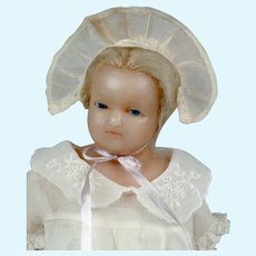 "Rare & Lovely 13"" English Poured Wax Doll Attributed to Joseph Evans"