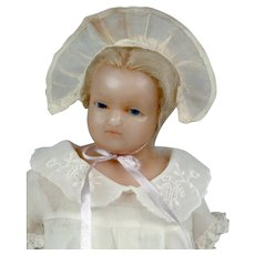 """Rare & Lovely 13"""" English Poured Wax Doll Attributed to Joseph Evans"""
