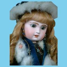 "French  21"" Bebe Jumeau  Size 9 in Stunning Original Blue Velvet Coat, Scarf, Muff & Hat"