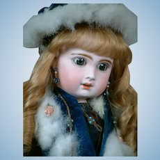 "French  21"" Bebe Jumeau  Size 9 in Stunning Original Blue Velvet Coat, Scarf, Muff & Hat"