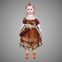 "12.5"" ALL-ORIGINAL German Wax Over Papier-mache Doll c. 1840-1860"