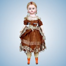 "12.5"" ALL-ORIGINAL German Wax Over Papier-mache Doll c. 1840-1860"