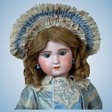 "Lovely 27"" SFBJ Jumeau 13 w/Blue Sleep Eyes,  Fine Blue Silk Costume & Original Wig"