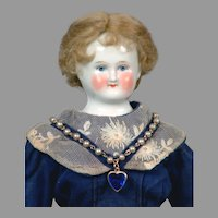 "Charming 14"" Biedermeier China Lady in Superb Antique Dress"