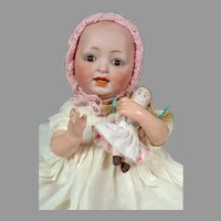 "Adorable 11"" JDK Kestner Baby with Tiny Cloth Doll"