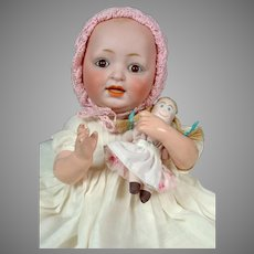 """Adorable 11"""" JDK Kestner Baby with Tiny Cloth Doll"""