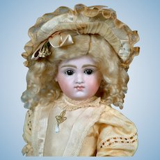 "16.5"" Wonderful Pouty Faced Closed-Mouth Kestner Bebe in Lovely Silk Dress! WoW!"