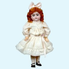 "Sweet Diminutive 14.5"" Antique Kestner 167 Doll in Pale Pink Silk Dress"