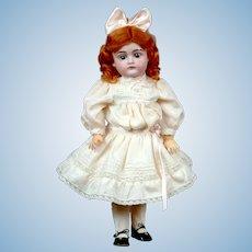 "Sweet Diminutive 14.5"" Antique Kestner 167 Doll in Pale Pink Silk Dress"