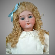"""Huge 34"""" Darling Simon & Halbig 1078 Classic Bisque Antique Child Doll in White Antique Dress"""