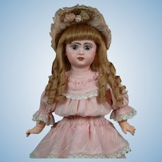 "19.5"" French Bebe Jumeau circa 1895 is ""Pretty in Pink""  with her Wonderful Antique Dress--WOW!"