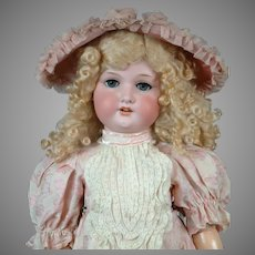 """HUGE  33"""" Armand Marseille 390 Antique Bisque Doll """"Pretty in Pink""""  with Sunny Blond Wig"""