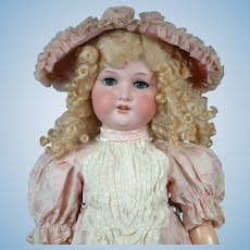 "HUGE  33"" Armand Marseille 390 Antique Bisque Doll ""Pretty in Pink""  with Sunny Blond Wig"