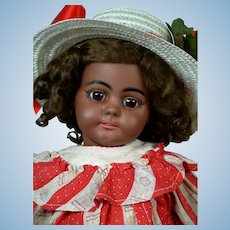 "19""Rare Black All Original Simon & Halbig 739 Antique Doll"