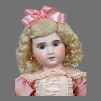 "22"" SFBJ Jumeau with Lovely Pink Silk Dress"