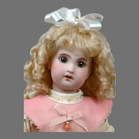 "Darling 14.5"" Antique French Jumeau in Sweet Pink Pinafore"