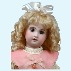 """Darling 14.5"""" Antique French Jumeau in Sweet Pink Pinafore"""